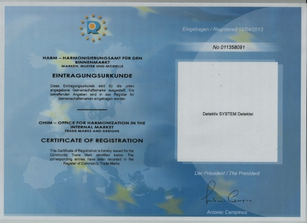 EU-Wortmarke Detektiv SYSTEM Detektei ®