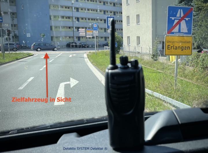 Beobachtungsposition der Detektive in Erlangen